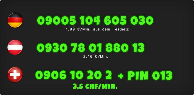 0900 Telefonsex Nummern einer Domina für Deutschland, Österreich und Schweiz