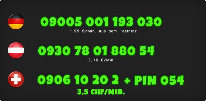 0900 Telefonsex Nummern der Sklavin für Deutschland, Österreich und Schweiz